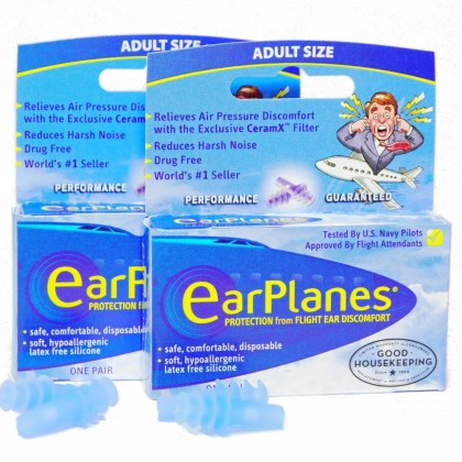EARPLANES Protection From Flight Cabin Air Pressure Adult Size Earplugs
