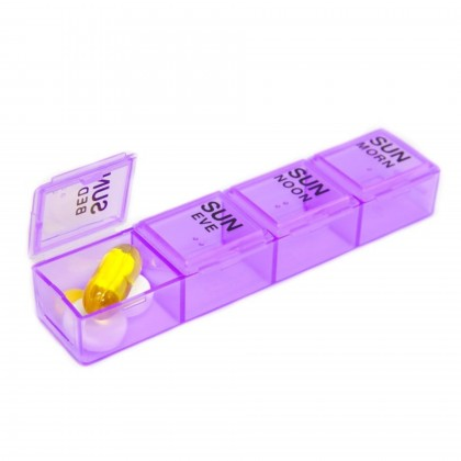 EZY DOSE™ Weekly/Four Times A Day Multiple Doses Pill Box Tablet Planner Reminder Container Organizer Detachable Case