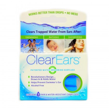 CLEAR EARS Patented Trapped Ear Water Absorbing Removal Earplugs