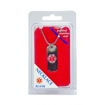 EZY DOSE EMERG ALERT NECKLACE ID STAINLESS STEEL MEDICAL EQUIPMENT SUPPLIES DIABETIC ALLERGY MEDICAL CONDITION TAG MEDIC