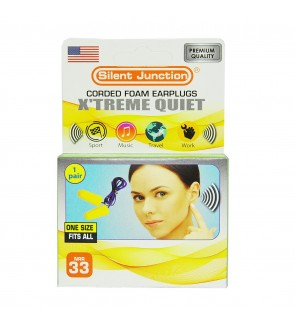 SILENT JUNCTION X'TREME QUIET EARPLUG SAFE SOFT COMFORT DISPOSABLE FOAM NOISE EARPLUGS SLEEP STUDY SPORTS WORK PROTECTION EAR PLUG 33 DECIBELS 1 PAIR WIRE CORDED EAR PLUGS